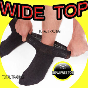 Mens-Extra-Wide-Diabetic-Socks-Thicker-Sports-Loose-Top-Oedema-WIDER-LEGS-lot