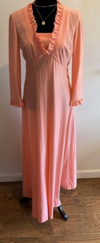 Vintage Dress Shimmer Long Pinky Coral Ruffle Trim