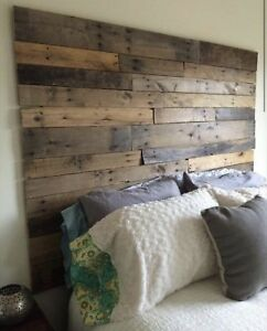 Queen Size Bed Reclaimed Pallet wood DIY Rustic Headboard ...