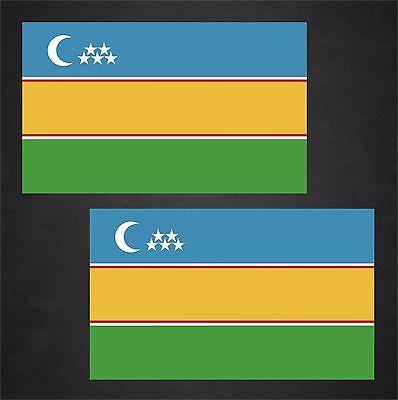 2 Karakalpakstan Flag Decals Stickers