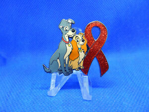 Lady and tramp disney Breast Cancer Awareness Red Ribbon pins pin badge