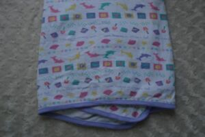 Image Is Loading Gymboree Beach Baby Blanket White Purple Dolphin Shell