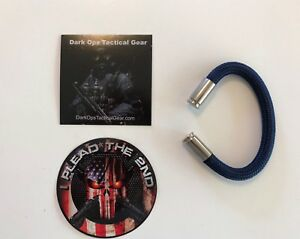 Bullet Casing Paracord Bracelet...Tru<wbr/>mp...2nd Amendment...Ni<wbr/>ckel 9mm...Blue