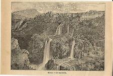 Stampa antica TIVOLI panorama cascatelle Campagna di Roma 1899 Old antique print
