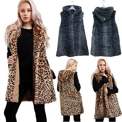 Women/'s Ladies Layered Shaggy fausse fourrure gilet veste sans manches Nouveau UK
