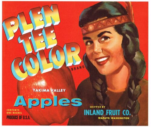 ORIGINAL APPLE CRATE LABEL VINTAGE WAPATO INDIAN GIRL YAKIMA RED 1940S AMERICAN