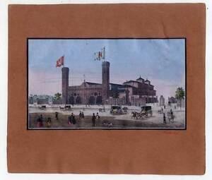 Hamburg-Bahnhof-altkolorierte-Lithographie-um-1850