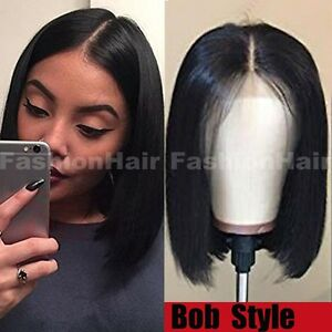 100 Human Hair Wig Bob Style Lace Front Wig Pre Plucked Natural Black Women Hht Ebay