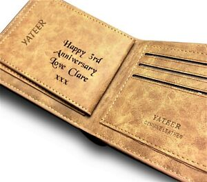 3rd Wedding Anniversary Gift.Details About Men S Personalised Engraved Real Leather Wallet 3rd Wedding Anniversary Gift