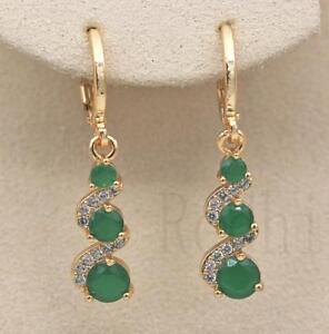 18K-Gold-Filled-1-2-039-039-Swirl-Round-Emerald-Jade-Topaz-Wedding-Dangle-Earrings