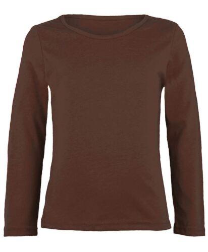 New Kids Long Sleeve Plain Basic Top Girls Boys T-Shirt Tops Crew Uniform Tee