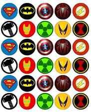 30 x Superhero Logos Cupcake Toppers Edible Birthday Paper Fairy Cup Cake Topper