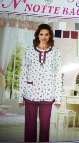 M 44 L 48 grau//Ro XL 42 Damen Pyjama warm angerauht Baumwolle Romantic Gr