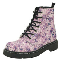 T.u.k. Pink & Purple Floral Roses Zipped Leather Anarchic Ankle Combat Boots