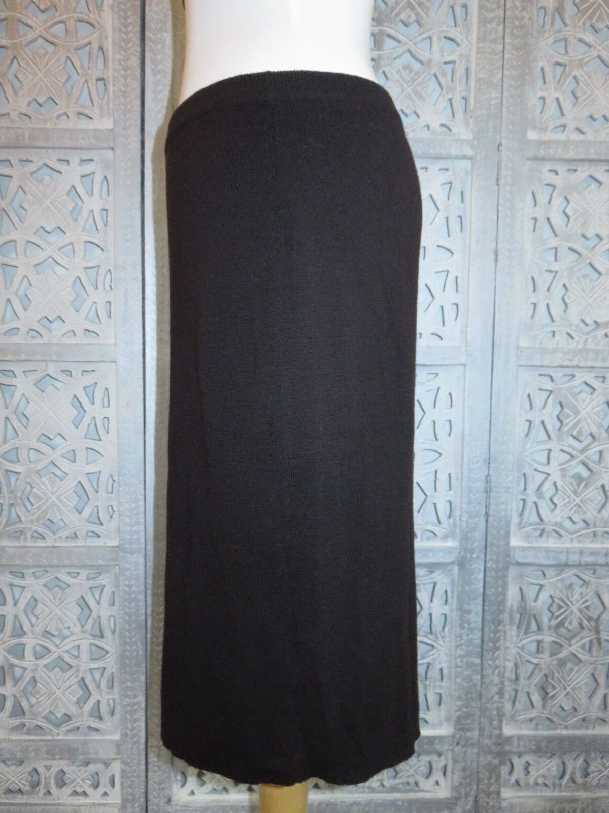 EILEEN FISHER Chocolate Brown 100% Italian Wool Stretch Pencil Skirt  S M