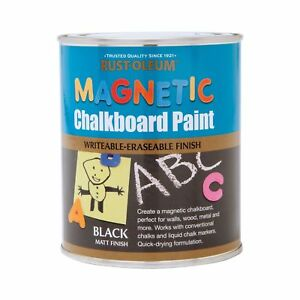 Rust-Oleum Magnetic Chalkboard Paint Black Matt 750ml Quick-Drying Formulation