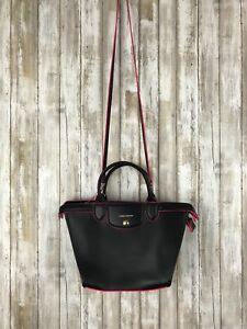 35a4e7c49d Image is loading Longchamp-Le-Pliage-Heritage-Black-NEON-Pink-Leather-