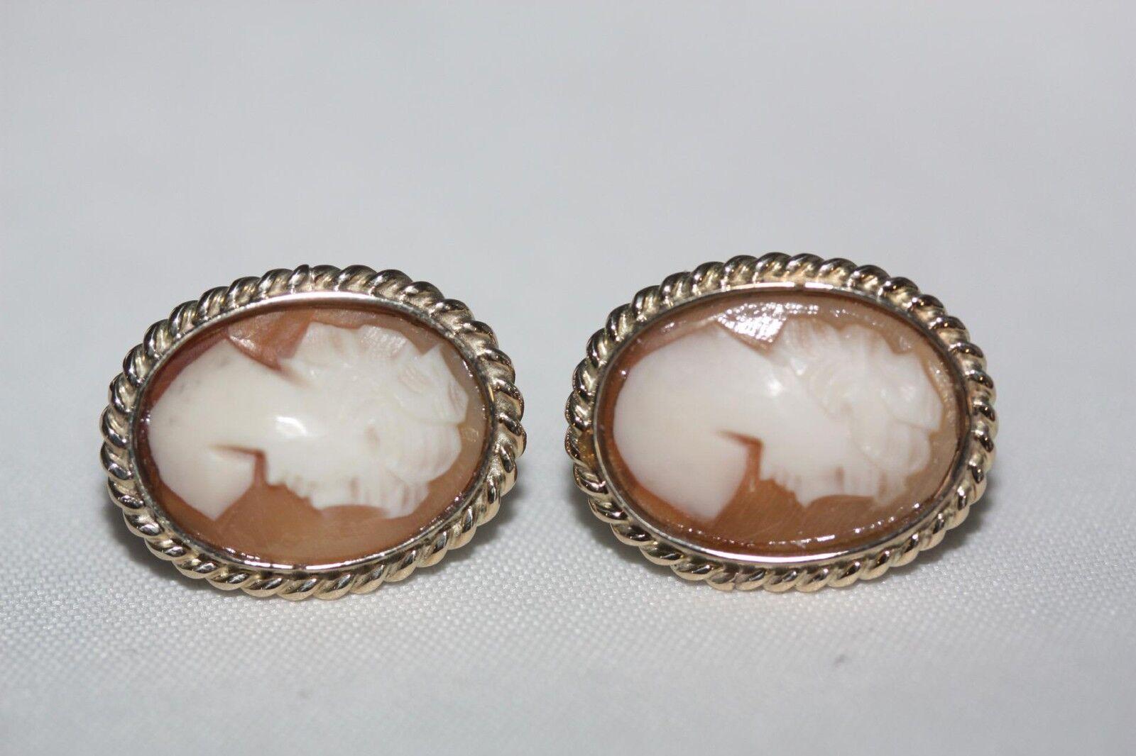 14k Yellow gold Cameo Earrings for Pierced ears Vintage Fine Jewelry