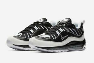 new style b4eff 2240d Image is loading NIKE-AIR-MAX-98-BLACK-WHITE-REFLECTIVE-SILVER-