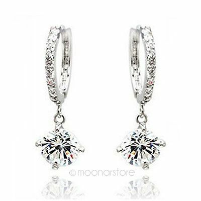 New Womens Swarovski Crystal 925 Sterling Silver Hook Dangle Ear Studs Earrings