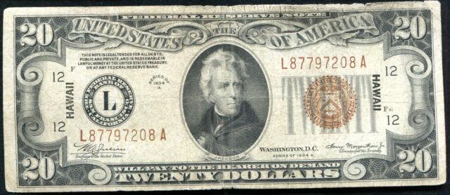 """1934-A $20 TWENTY DOLLARS """"HAWAII"""" FRN FEDERAL RESERVE NOTE"""