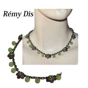 REMY-DIS-PARIS-Collier-en-cuivre-patine-cristal-et-perles-vert-bijou