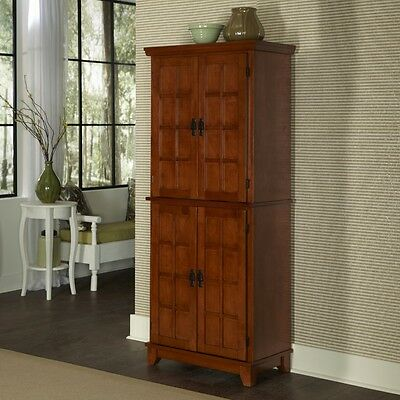 Kitchen Furniture Storage Pantry Cabinet Cupboard Wood Oak Mission Style  Tall 95385845544 | EBay
