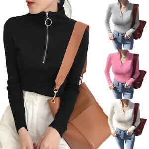 Women-Spring-Knit-Pullover-V-Neck-Turtleneck-Zipper-Slim-Jumper-Sweater-Tops