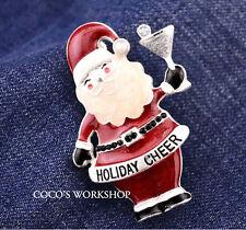 ADORABLE ENAMEL HOLIDAY SANTA CLAUS BROOCH CHRISTMAS JEWELLERY GIFT RHINESTONE