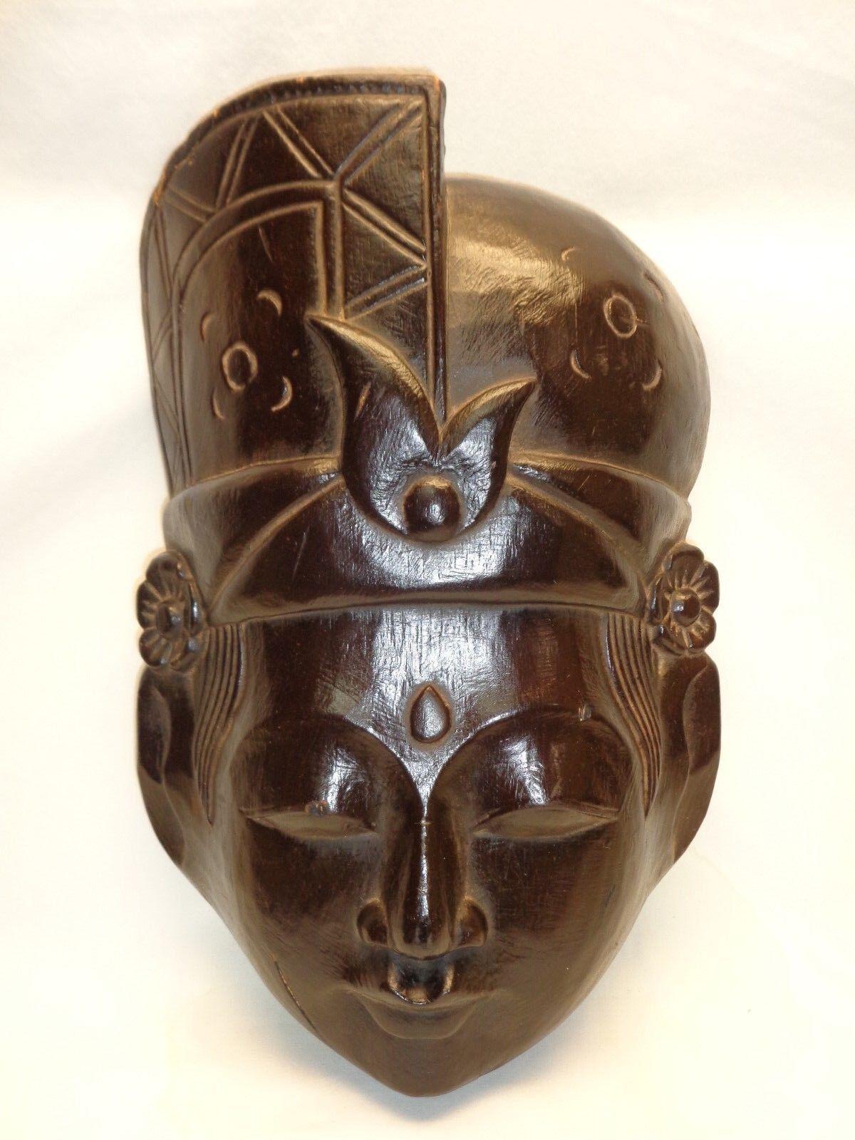 Vtg Wood Buddha Head Face Mask Zen Decor Wall Hanging Art Balinese Meditation