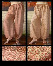 Harem Pants Belly Dance Iridescent Red and Tan Floral Design 1 Reversible
