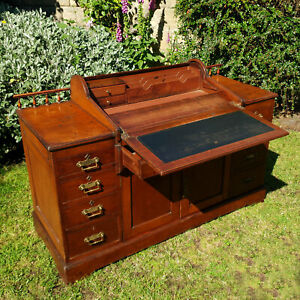 Victorian-Christopher-Pratts-Walnut-Bradford-Desk-Library-Version-C1900
