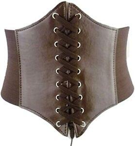 Brown Corset Belt Renaissance Corset Cincher Waistband Wide Corset Lace-Up Belt