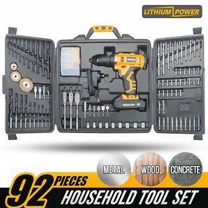 MasterSkil 92 PC Power Tool Kit 18V Cordless Drill Screw Flap Bits...
