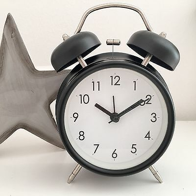 RETRO DOUBLE BELL ALARM CLOCK METAL BLACK BEDSIDE WAKE UP ALARM HAMMER BEL