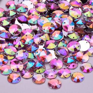 10mm Sewing Clear Crystal AB Flatback Rhinestones Sew On Crystals 100 Pcs