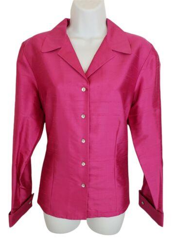 Ann Taylor Top Shirt 100% Silk Size 12 L Pink Long