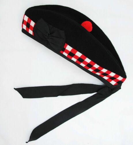 SCOTTISH HIGHLAND PLAIN BLACK GLENGARY HAT PURE WOOL//PIPER GLENGARRY CAP