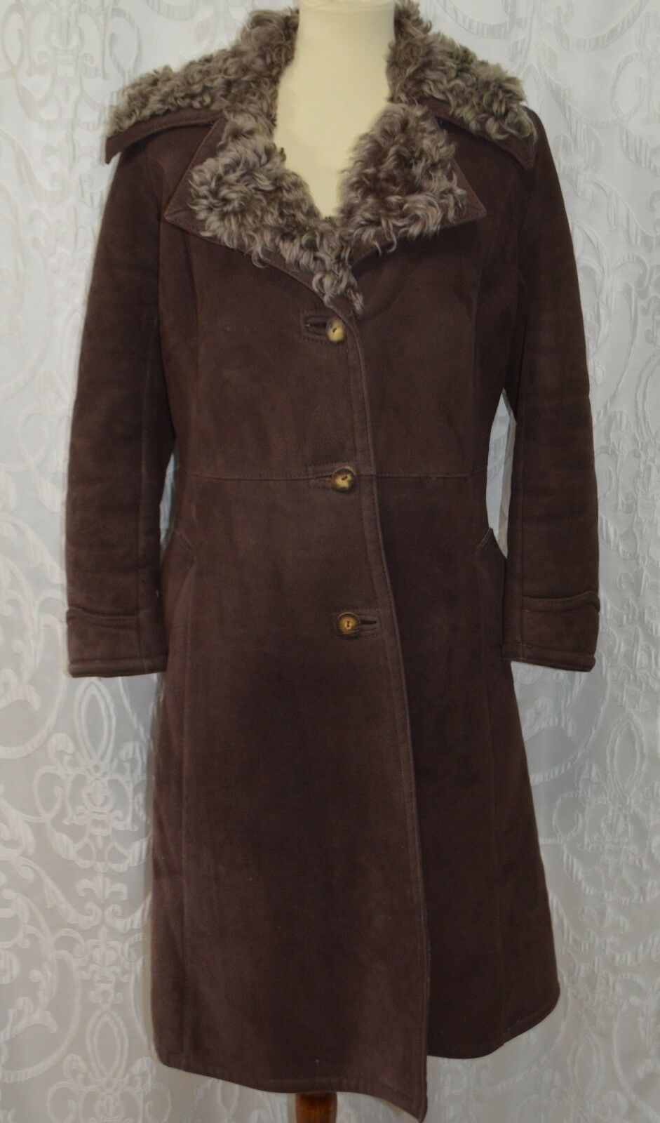 Women SAWYER OF NAPA Coat w FUR Californian Spring Lamb SUEDE ChocoBrown Size 12