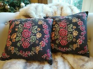 Pair-of-VTG-Floral-Tapestry-Needlepoint-Throw-Pillow-covers-black-11-034-silk