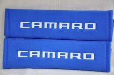 Embroidery Chevrolet Camaro Blue Plush Soft Seat Belt Cover Shoulder Pad Pair