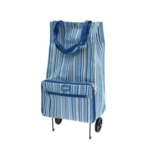 Neuf à rayures bleues fold away shopping chariot un glissement poche sur l/'extérieur 99549
