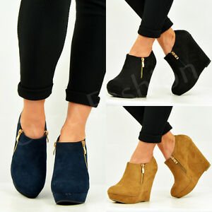 womens ankle boots wedge platforms side zip booties