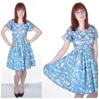 VINTAGE 1950's 1960's Blue Floral Pattern 8 Full Skirt Prom Day Dress Pastel