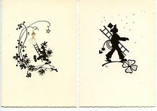 Silhouette-Little Boy in Top Hat-Ladder-Chimney Sweep-Lot of 2 German Postcards