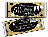 Gold Glitter 30th/40th/50th/60th Birthday For Her Candy Bar Wrappers - Set/12