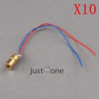 10 PCS 650nm 6mm DC 5V 5mW Laser Dot-shaped Diode Module WL Red Copper Head Tube