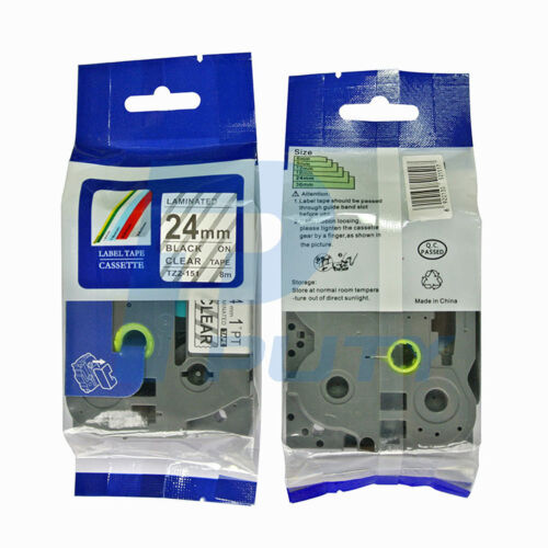 2PK Compatible Brother TZ-151 P-Touch Black on Clear Label Tape 24mm 8m TZ e151