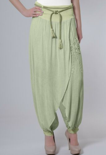 CASPAR Damen leichte Sommer Baumwoll Hose Hosenrock Schleife Applikation