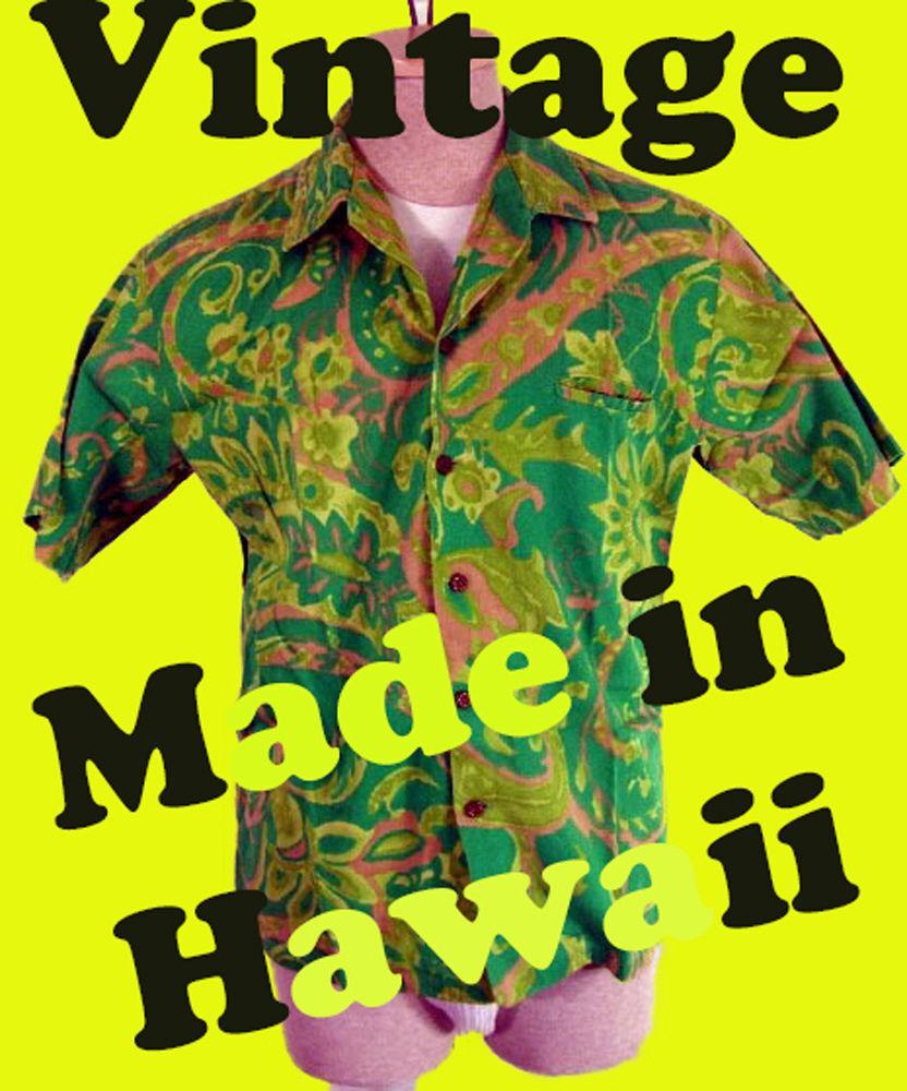 Vintage HAWAIIAN shirt BRIGHT GREEN neon flourescent dayglow floral made in dork